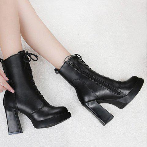 Pointed Toe Platform High Heel Mid Calf Boots - BLACK 39