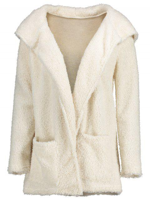 Furry Open Front Hooded Cardigan - WHITE S