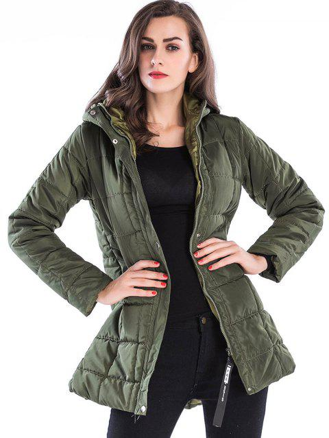 Zip Up Hooded Long Down Coat - ARMY GREEN XL