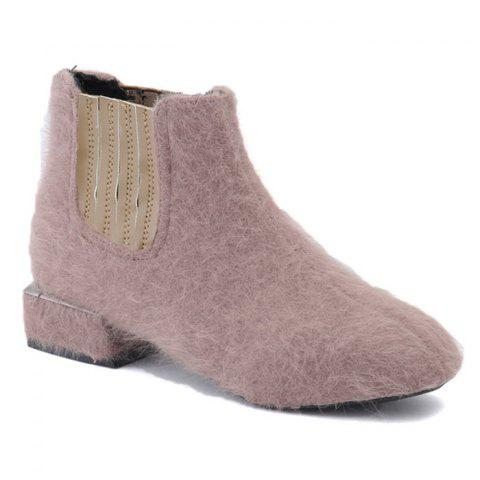 Fuzzy Almond Toe Slip On Ankle Boots - PINK 36