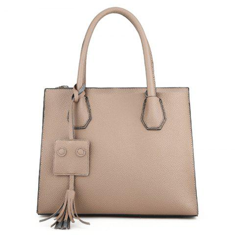 Faux Leather Tassel Handbag With Strap - KHAKI
