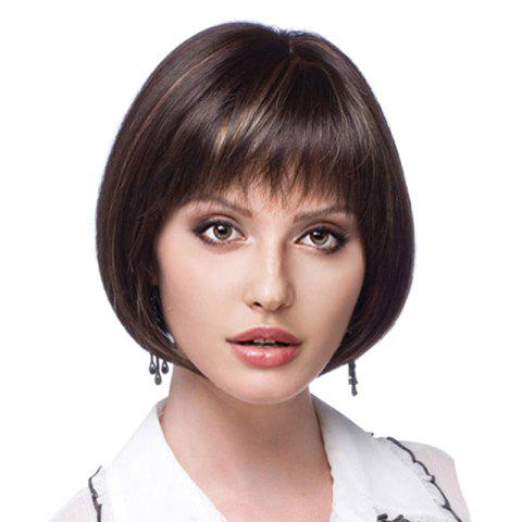 Short Colormix Neat Bang Straight Bob Synthetic Wig - BLACK BROWN
