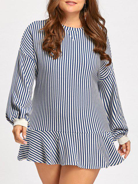 ab4a0c0c281 41% OFF  2019 Striped Plus Size Long Sleeve Drop Waist Dress In BLUE ...
