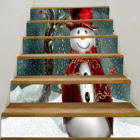 Christmas Snowman Smiling Baubles Pattern Stair Stickers - COLORFUL 100*18CM*6PCS