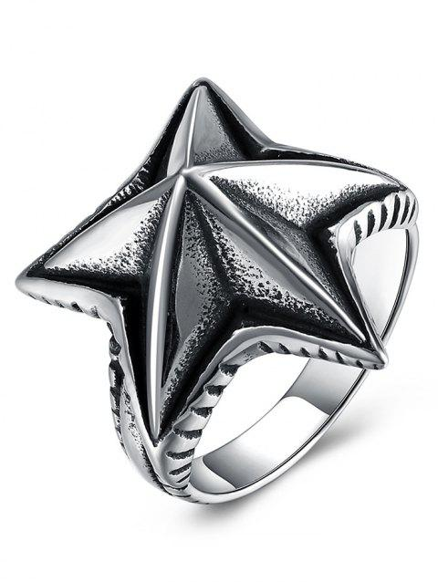 Cool Angular Star Carving Embellished Stainless Steel Ring - BLACK 10