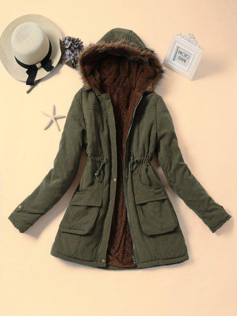 Drawstring Faux Fur Hooded Parka Coat - ARMY GREEN M