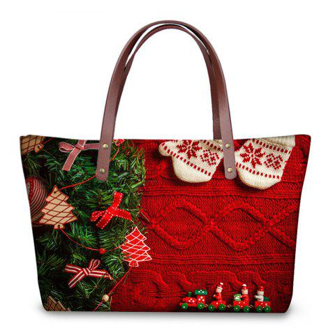 3D Christmas Prints Shoulder Bag - RED