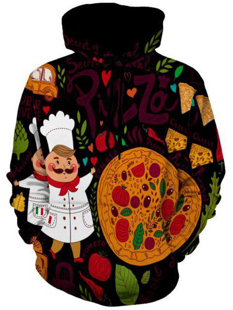 Pizza and Chef Printed Pullover Hoodie - COLORMIX XL