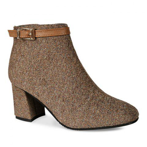 Almond Toe Buckle Strap Ankle Bootd - BROWN 35