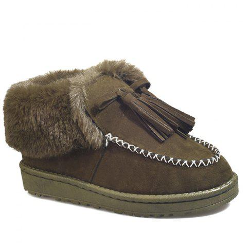 Faux Fur Stitch Tassels Ankle Boots - GREEN 39