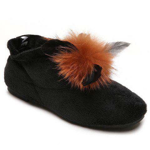 Flat Heel Round Toe Faux Fur Ankle Boots - BLACK 38