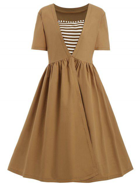 2018 Plus Size Vintage Striped Square Neck Dress Earthy Xl In