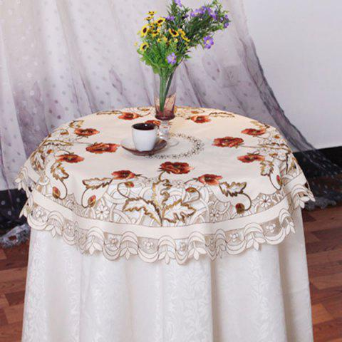 Chiffon de table brodé satin rond creux - multicolore 85*85CM