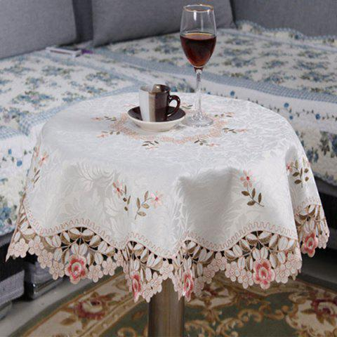 Embroidered Jacquard Polyester Round Kitchen Table Cloth - PINK 85*85CM