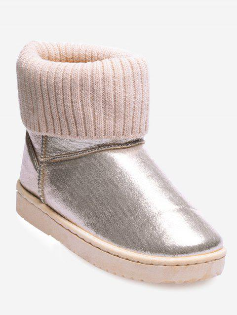Metallic Low Heel Snow Boots - BEIGE 40