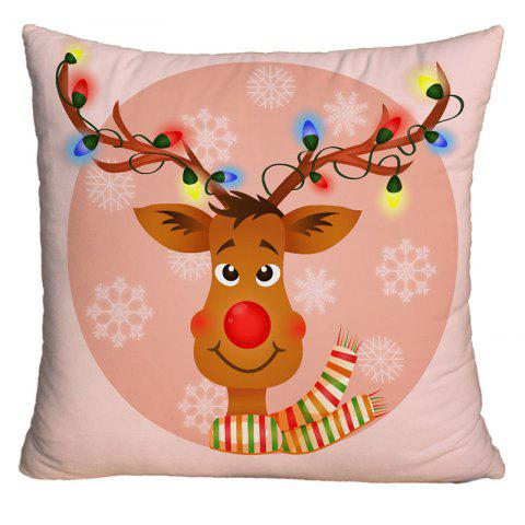Cartoon Rudolph Reindeer Print Decorative Throw Pillow Case - NUDE PINK W18 INCH * L18 INCH