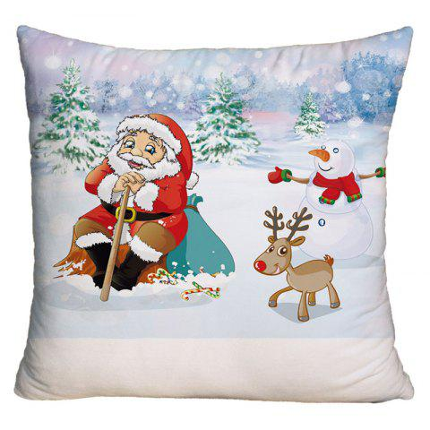Christmas Snowscape Santa Claus Print Square Decorative Pillow Case - COLORMIX W18 INCH * L18 INCH