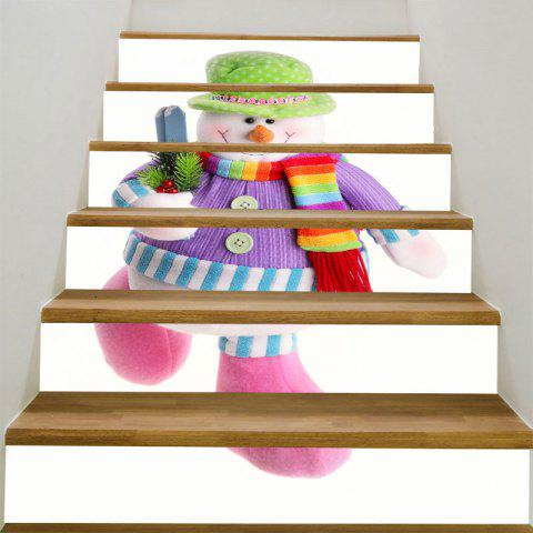 Decorative Colorful Snowman Pattern DIY Stair Stickers - COLORFUL 100*18CM*6PCS