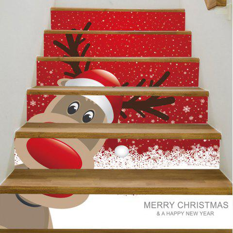 Christmas Deer Pattern Stair Stickers - RED 100*18CM*6PCS