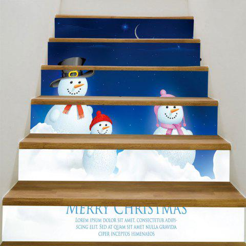 Starry Moon Night Snowman Family Printed Stair Stickers - BLUE/WHITE 100*18CM*6PCS