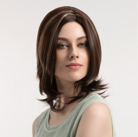 Medium Side Parting Layered Straight Colormix Synthetic Wig - COLORMIX