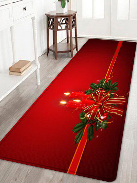 Christmas Bowknot Candle Pattern Indoor Outdoor Area Rug - RED W24 INCH * L71 INCH