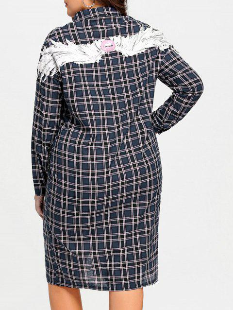 41% OFF] 2019 Wings Patches Plus Size Flannel Plaid Shirt Dress In ...