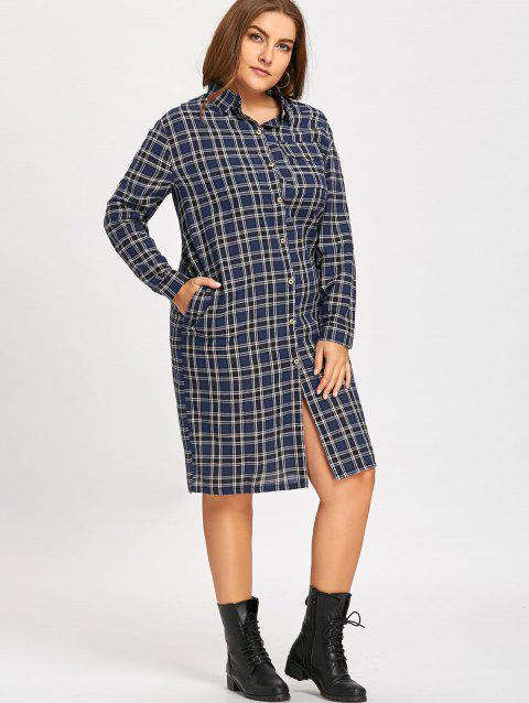 Wings Patches Plus Size Flannel Plaid Shirt Dress