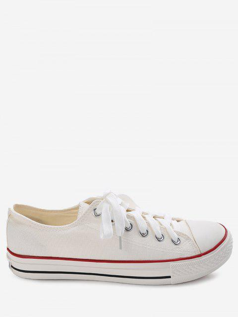 Lace Up Stitching Canvas Shoes - WHITE 42