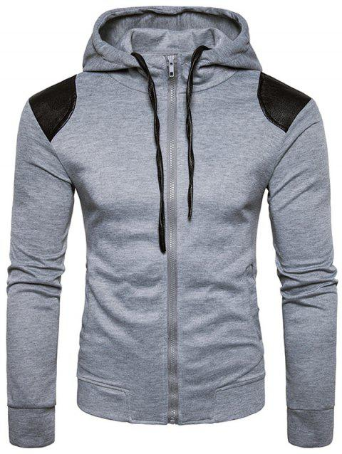 PU Leather Panel Zip Up Hoodie - LIGHT GRAY M