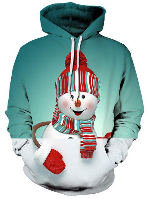 Kangaroo Pocket Christmas Snowman 3D Print Hoodie - LIGHT SEA GREEN XL