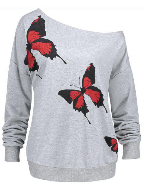 Plus Size Butterfly Pattern Skew Neck Sweatshirt - GRAY 3XL