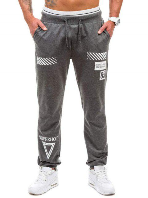 Graphic Geometric Print Jogger Pants - DEEP GRAY L