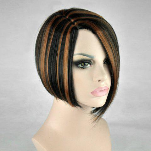 Short Side Parting Highlight Straight Bob Synthetic Wig - BLACK/BROWN