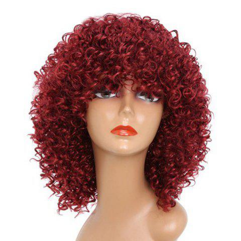 Medium Full Bang Shaggy Afro Kinky Curly Synthetic Wig - WINE RED