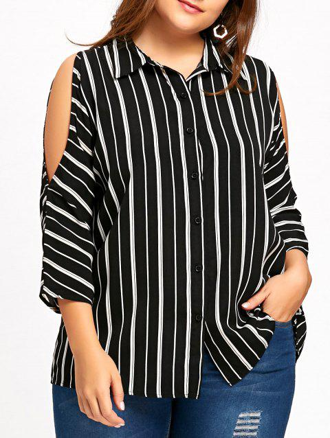 93a0cf6cb022c 17% OFF  2019 Plus Size Cold Shoulder Striped High Low Blouse In ...