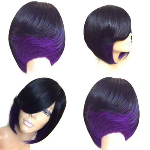 Short Side Bang Straight Feathered Bob Synthetic Wig - BLACK/PURPLE