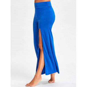 Flare High Split Palazzo Pants - BLUE L