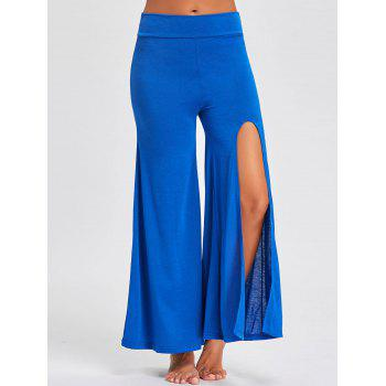 Flare High Split Palazzo Pants - BLUE BLUE