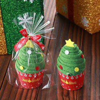 Christmas Santa Tree Snowman Shape Cupcake Towel