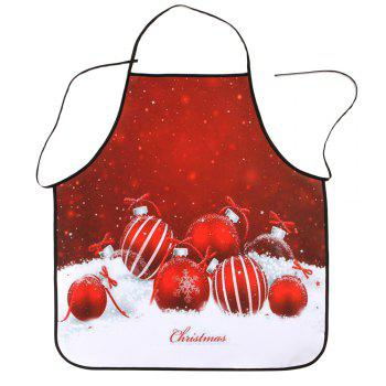 Christmas Balls Printed Waterproof Polyester Cooking Apron - RED RED