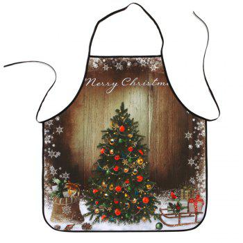 Wood Grain Christmas Tree Printed Polyester Waterproof Apron - COLORMIX COLORMIX