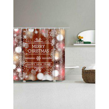 Letter Print Christmas Snowflake Waterproof Shower Curtain - COLORMIX COLORMIX