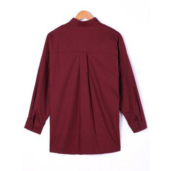 Pintuck High Low Shirt - WINE RED WINE RED