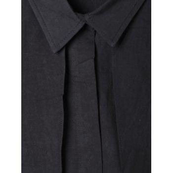 Overlay High Low Hem Shirt - BLACK BLACK