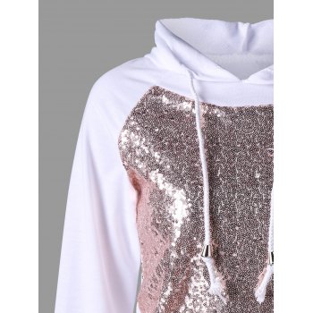 Raglan Sleeve Sequined Sparkly Hoodie - WHITE WHITE