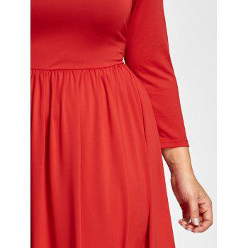 Off The Shoulder Empire Waist Plus Size Maxi Formal Dress - RED RED