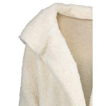Furry Open Front Hooded Cardigan - WHITE M