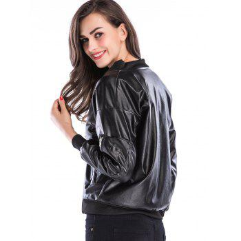 Faux Leather Short Zip Up Jacket - BLACK XL
