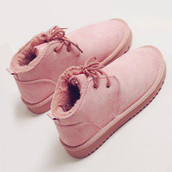 Lace Up Faux Fur Lined Winter Ankle Boots - PINK 40
